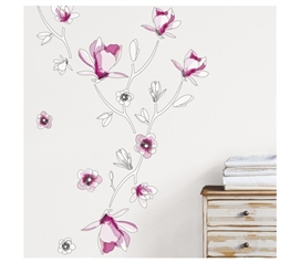 Floral Stencil - Dorm Room Wall Peel N Stick College Sticker Art