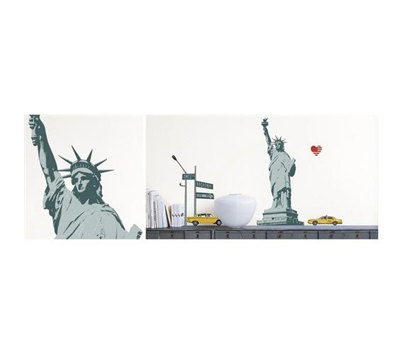 patriotic statue of liberty nyc taxi cab peel n stick. Black Bedroom Furniture Sets. Home Design Ideas