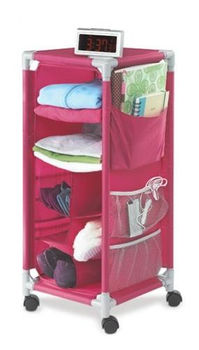Dorm Organizer Pink With Wheels