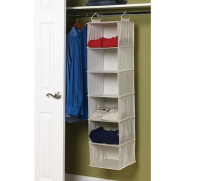 Cotton Blend 6 Shelf Closet Organizer Hang Supplies Clothes Organize  Essential Neat Dorm Living