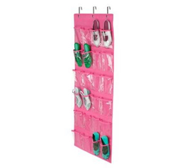 Pink Shoe Organizer - Over-The-Door 24 Pocket