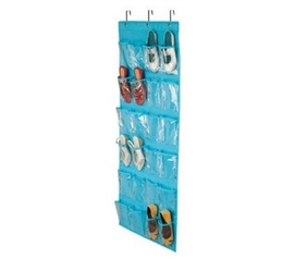Blue Shoe Organizer - Over-The-Door 24 Pocket