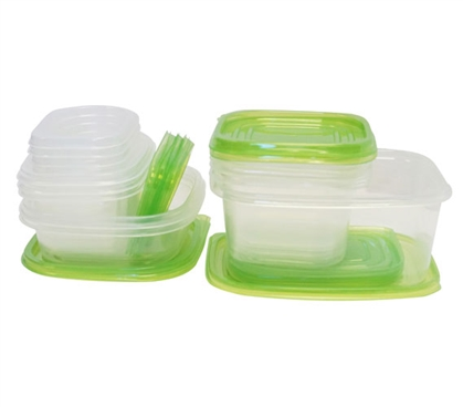 30 Piece Nesting College Food Storage Containers Green