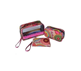 3 Piece Cosmetic Bag Set - Yellow/Pink Floral