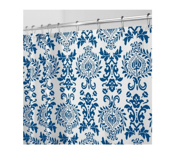 Damask Navy Fabric Shower Curtain Dorm Essentials Must