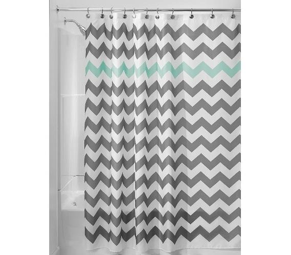 Chevron Fabric Shower Curtain Gray Aruba Dorm Essentials