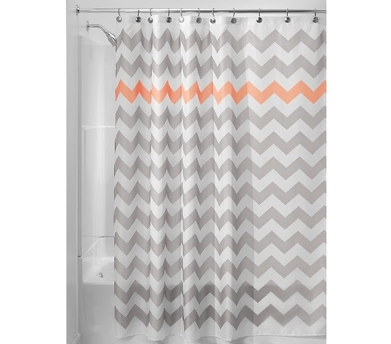 Chevron Fabric Shower Curtain Light Gray Coral Dorm