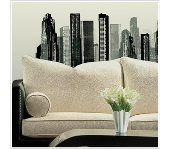 college dorm room cityscape peel n stick dorm decor. Black Bedroom Furniture Sets. Home Design Ideas