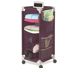 Portable And Useful - The Dorm Swivel Storage Cart - Eggplant - Cool Dorm Organizer