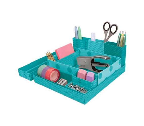Dorm Desk Paper Organizers Blue Green