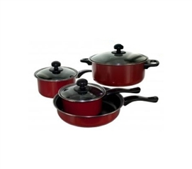 College Cookware Set - 4 Piece - Red Dorm Cooking Supplies