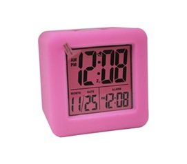 Pink Cubed LCD Digital Alarm Clock Dorm room alarm clock
