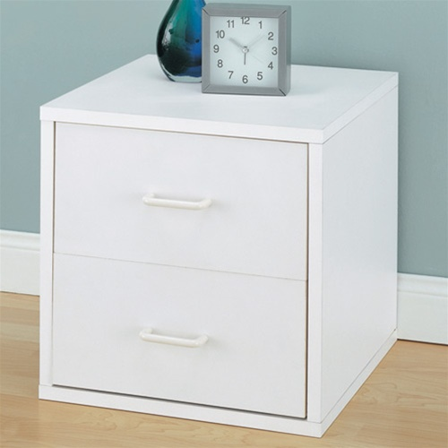 Bedside 2 drawer white nightstand dorm room organizing for Space saving nightstand