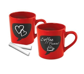 Chalk Thought Mugs - Set Of 2