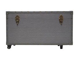 Rugged Dorm Trunk with Wheels - Gray With Gray Trim