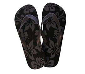 Stylish Tropical Styled College Necessities - Black & Grey Flowers - Shower Sandal