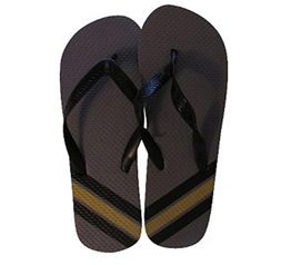 Comfortable Footwear For Guys - Grey with Solid Yellow Stripe Shower Sandal