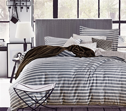 Classic Gray Stripes Twin Xl Comforter