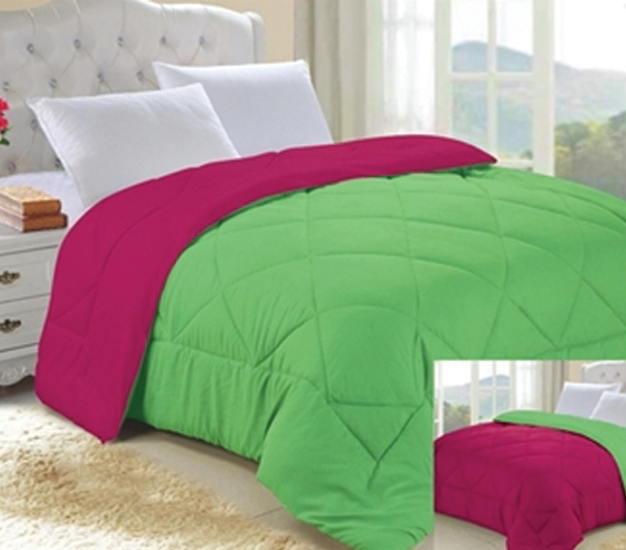 Lime Green And Pink Bedding: Lime Green/Knockout Pink Reversible College Comforter