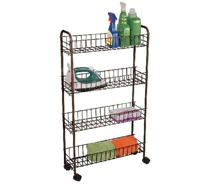 Slim 4 Tier Rolling Storage Cart Bronze Dorm Storage