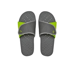 Showaflops - Men's Antimicrobial Shower Sandal - Gray/Lime Dorm Essentials Shower Shoes for College
