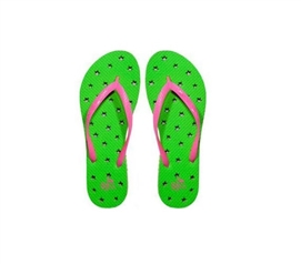 Showaflops - Women's Antimicrobial Shower Sandal - Lime/Hot Pink Stars