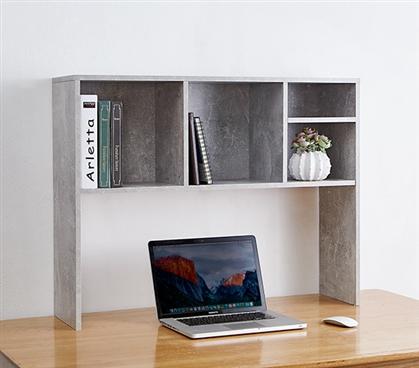 The College Cube Dorm Desk Bookshelf Marble Gray
