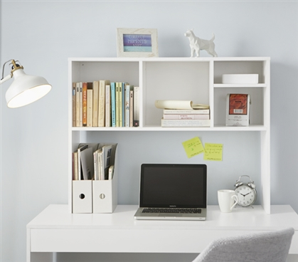 The College Cube Dorm Desk Bookshelf White Upper Desk