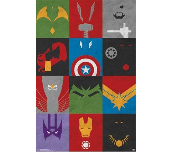 Wall Decor For Dorms Avengers Minimalist Grid Poster