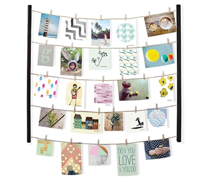 Clothesline Photo Display Black