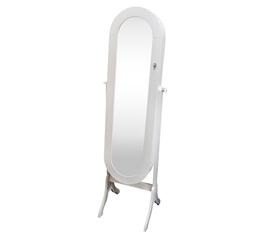 College-Ave Full-Length Mirror Jewelry Stand - Classic White Oval Dorm Organizers