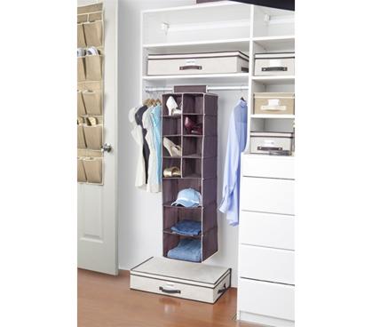 3 Shelf / 8 Pocket Closet Organizer (Chocolate / Cream) Dorm Closet  Organization