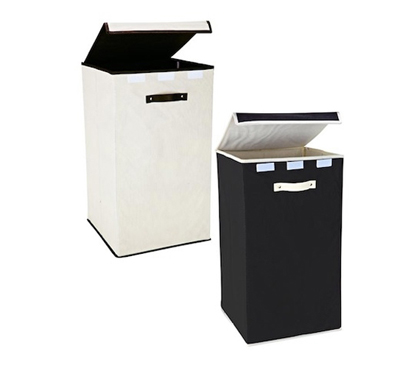 collapsible fold-up laundry hamper - black & cream college laundry