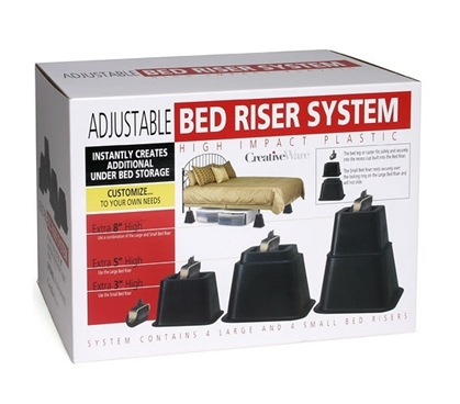 extra tall bed risers - adjustable height dorm bedding accessory
