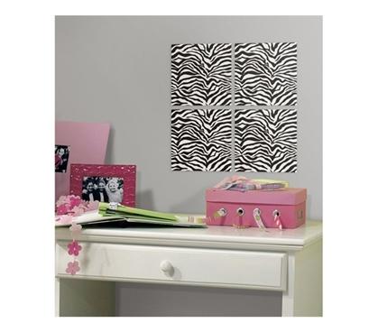 zebra foam tiles peel n stick includes 4 tiles dorm. Black Bedroom Furniture Sets. Home Design Ideas