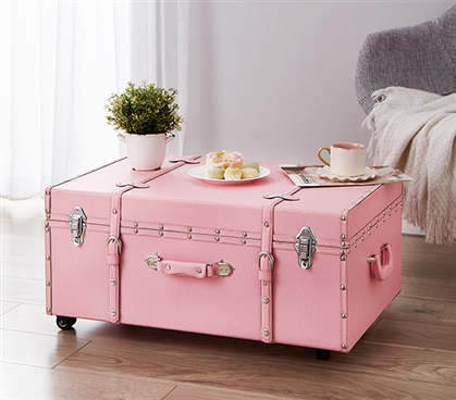 The sorority college dorm trunk baby pink dorm underbed - Dorm underbed storage ideas ...
