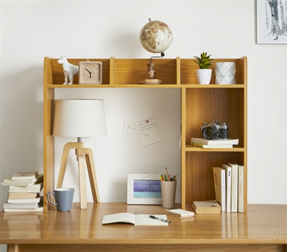 Classic Dorm Desk Bookshelf Beech Natural Wood