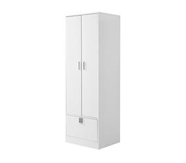 Yak About It Locking Safe Wardrobe Closet   White