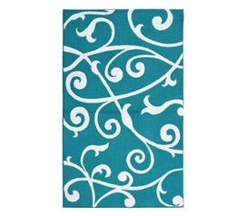 Cute Dorm Area Rugs - Honeysuckle College Rug - Teal and White