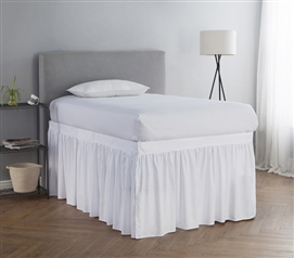 Extended Dorm Sized Bed Skirt Panel with Ties   White