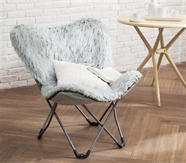 Gray College Seating Eccentric Fur Erfly Dorm Chair Stylish Glacier Room Furniture