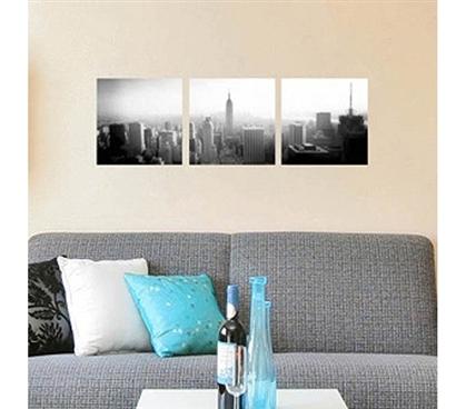 new york city panoramic 3 piece peel n stick college. Black Bedroom Furniture Sets. Home Design Ideas