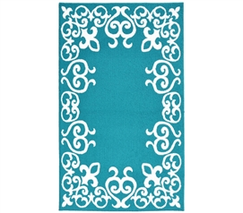 Bordeaux College Rug - Teal and White