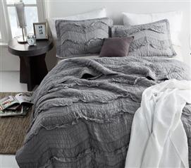 alloy chevron ruffles quilt single tone twin xl - Twin Xl Comforters
