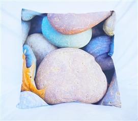 colorful rocks cotton throw pillow