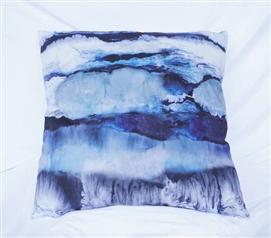 Ocean Layers   Blue   Cotton Throw Pillow