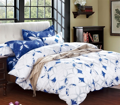 Blue And White Extra Long Twin College Dorm Comforter Twin