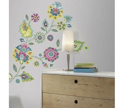peel n stick boho floral wall decals. Black Bedroom Furniture Sets. Home Design Ideas