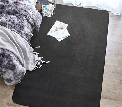 Microfiber Dorm Rug Black Is An Affordably Cheap Dorm Rug