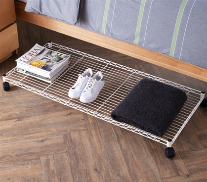 Suprima Rolling Underbed Storage Shelf White